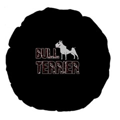 Bull Terrier  Large 18  Premium Flano Round Cushions by Valentinaart