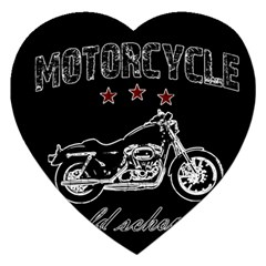 Motorcycle Old School Jigsaw Puzzle (heart) by Valentinaart