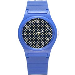 Navy/gold Polka Dots Round Plastic Sport Watch (s) by Colorfulart23