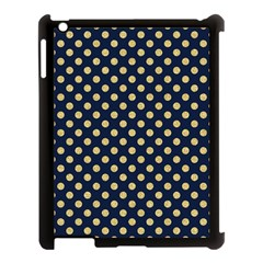 Navy/gold Polka Dots Apple Ipad 3/4 Case (black) by Colorfulart23