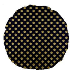 Navy/gold Polka Dots Large 18  Premium Round Cushions by Colorfulart23