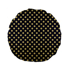 Navy/gold Polka Dots Standard 15  Premium Flano Round Cushions by Colorfulart23