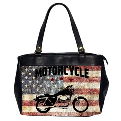 Motorcycle Old School Office Handbags (2 Sides)  by Valentinaart