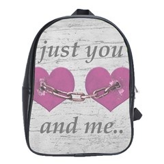 Shabby Chich Love Concept Poster School Bags(large)  by dflcprints