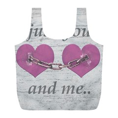 Shabby Chich Love Concept Poster Full Print Recycle Bags (l)  by dflcprints