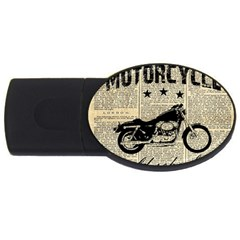 Motorcycle Old School Usb Flash Drive Oval (4 Gb) by Valentinaart