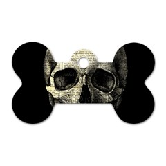 Newspaper Skull Dog Tag Bone (one Side) by Valentinaart