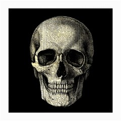 Newspaper Skull Medium Glasses Cloth (2 Side) by Valentinaart