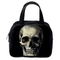Newspaper Skull Classic Handbags (one Side) by Valentinaart