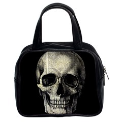 Newspaper Skull Classic Handbags (2 Sides) by Valentinaart