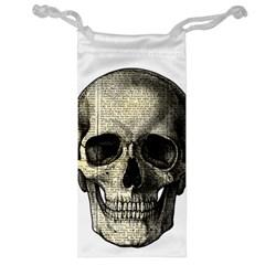 Newspaper Skull Jewelry Bag by Valentinaart