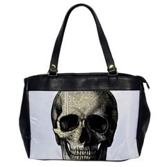 Newspaper Skull Office Handbags by Valentinaart