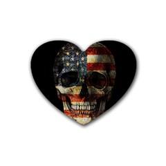 American Flag Skull Heart Coaster (4 Pack)  by Valentinaart