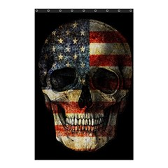 American Flag Skull Shower Curtain 48  X 72  (small)  by Valentinaart