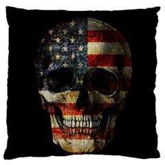 American Flag Skull Standard Flano Cushion Case (two Sides) by Valentinaart