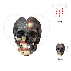 American Flag Skull Playing Cards (heart)  by Valentinaart