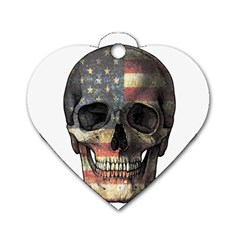 American Flag Skull Dog Tag Heart (one Side) by Valentinaart