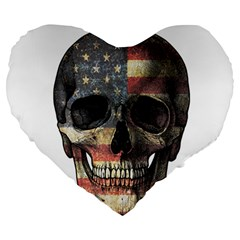 American Flag Skull Large 19  Premium Heart Shape Cushions by Valentinaart