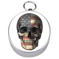 American Flag Skull Silver Compasses by Valentinaart