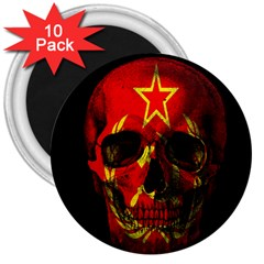 Russian Flag Skull 3  Magnets (10 Pack)  by Valentinaart