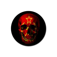 Russian Flag Skull Rubber Coaster (round)  by Valentinaart