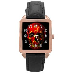 Russian Flag Skull Rose Gold Leather Watch  by Valentinaart