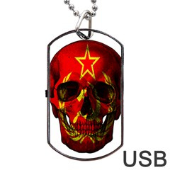 Russian Flag Skull Dog Tag Usb Flash (one Side) by Valentinaart