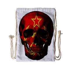 Russian Flag Skull Drawstring Bag (small) by Valentinaart