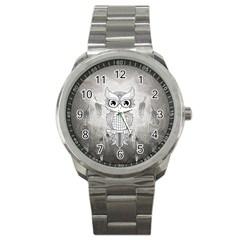 Wonderful Owl, Mandala Design Sport Metal Watch by FantasyWorld7