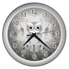 Wonderful Owl, Mandala Design Wall Clocks (silver)  by FantasyWorld7
