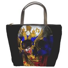 Russian Flag Skull Bucket Bags by Valentinaart