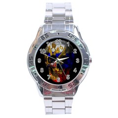 Russian Flag Skull Stainless Steel Analogue Watch by Valentinaart