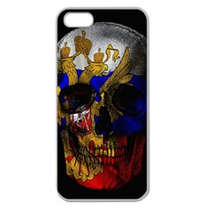 Russian Flag Skull Apple Seamless Iphone 5 Case (clear) by Valentinaart