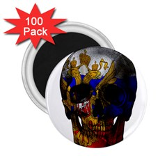 Russian Flag Skull 2 25  Magnets (100 Pack)  by Valentinaart