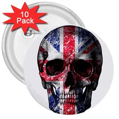 Uk Flag Skull 3  Buttons (10 Pack)  by Valentinaart
