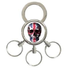 Uk Flag Skull 3 Ring Key Chains by Valentinaart
