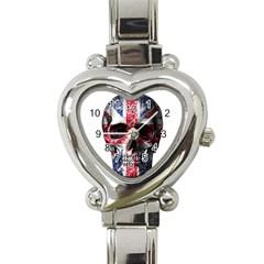Uk Flag Skull Heart Italian Charm Watch by Valentinaart