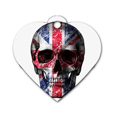 Uk Flag Skull Dog Tag Heart (one Side) by Valentinaart