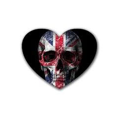 Uk Flag Skull Rubber Coaster (heart)  by Valentinaart