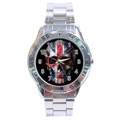 Uk Flag Skull Stainless Steel Analogue Watch by Valentinaart