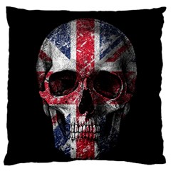 Uk Flag Skull Large Flano Cushion Case (two Sides) by Valentinaart