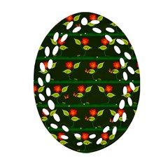 Plants And Flowers Oval Filigree Ornament (two Sides) by linceazul