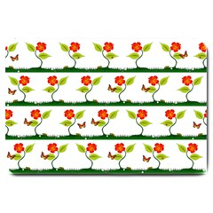 Plants And Flowers Large Doormat  by linceazul