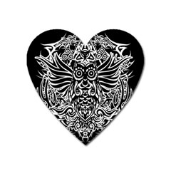Tattoo Tribal Owl Heart Magnet by Valentinaart