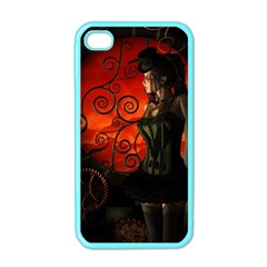Steampunk, Wonderful Steampunk Lady In The Night Apple Iphone 4 Case (color) by FantasyWorld7