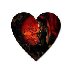 Steampunk, Wonderful Steampunk Lady In The Night Heart Magnet by FantasyWorld7