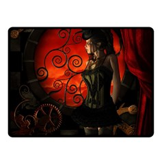 Steampunk, Wonderful Steampunk Lady In The Night Double Sided Fleece Blanket (small)  by FantasyWorld7