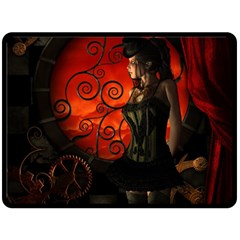 Steampunk, Wonderful Steampunk Lady In The Night Double Sided Fleece Blanket (large)  by FantasyWorld7