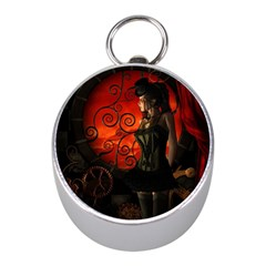 Steampunk, Wonderful Steampunk Lady In The Night Mini Silver Compasses by FantasyWorld7