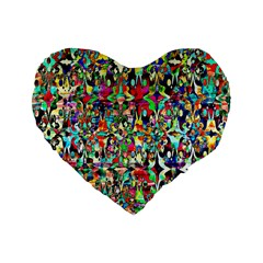 Psychedelic Background Standard 16  Premium Flano Heart Shape Cushions by Colorfulart23